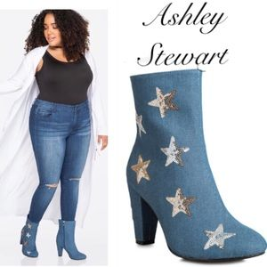 Shoes - Denim and silver sequin boots